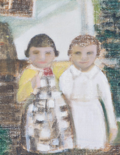 "Chrissey & Sara & Boo | 11"" x 14"", Oil on Panel"