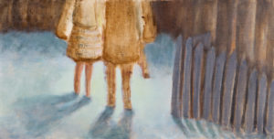 "Standing By, 2011 | 8"" x 16, Oil on Panel"