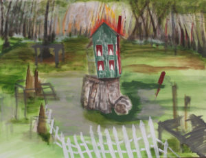 "Swamp House, 2014 | 24"" x 30"" Gouache, graphite, oil stick"